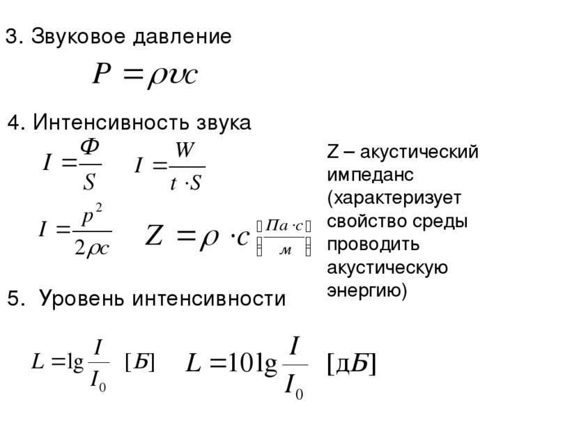 3. Звуковое давление 4. Интенсивность звука 5. Уровень интенсивности Z – акус...