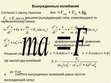 Вынужденные колебания Согласно II закону Ньютона , где - внешняя (вынуждающая...