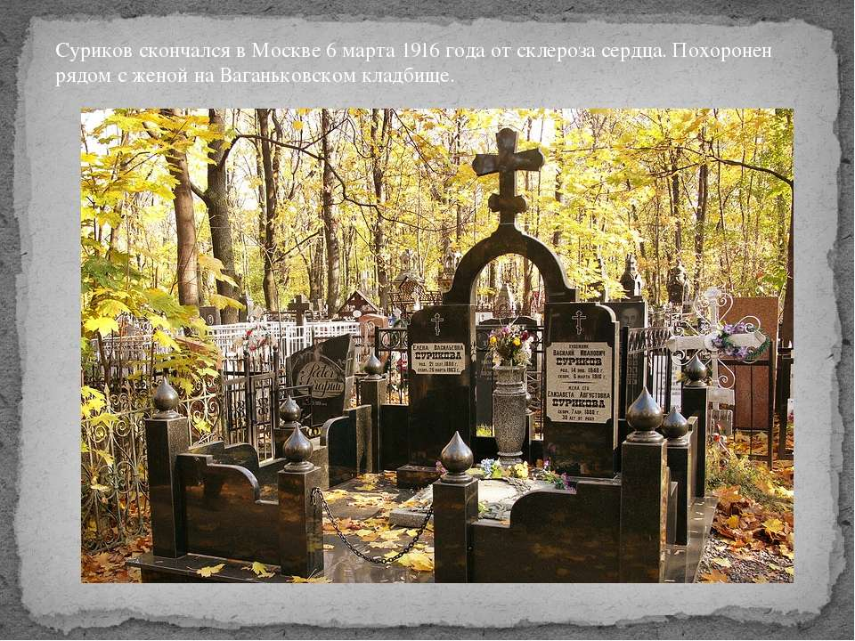Суриков скончался в Москве 6 марта1916 годаот склероза сердца. Похоронен ря...