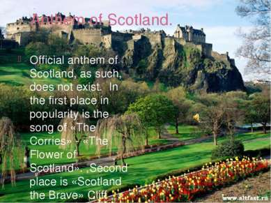 Anthem of Scotland. Official anthem of Scotland, as such, does not exist. In ...