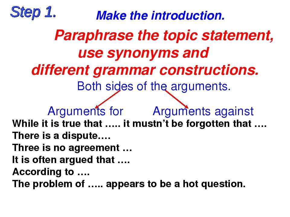 Make the introduction. Both sides of the arguments. Arguments for Arguments a...