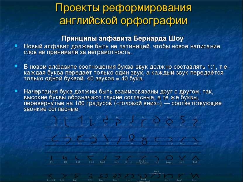 Проекты реформирования английской орфографии Принципы алфавита Бернарда Шоу Н...