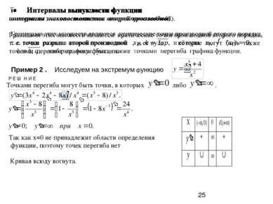 Пример 2 . Исследуем на экстремум функцию Р Е Ш Н И Е Так как х=0 не принадле...