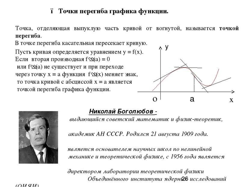 ● Точки перегиба графика функции.  Точка, отделяющая выпуклую часть кривой о...