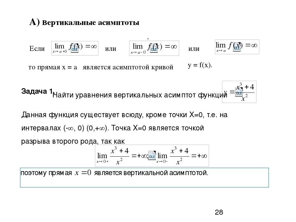 А) вертикальные асимптоты Если или или то прямая х = а является асимптотой ...