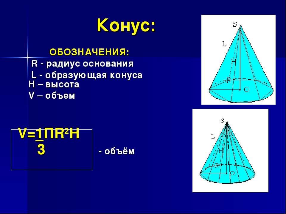 Конус: ОБОЗНАЧЕНИЯ: R - радиус основания L - образующая конуса H – высота V –...