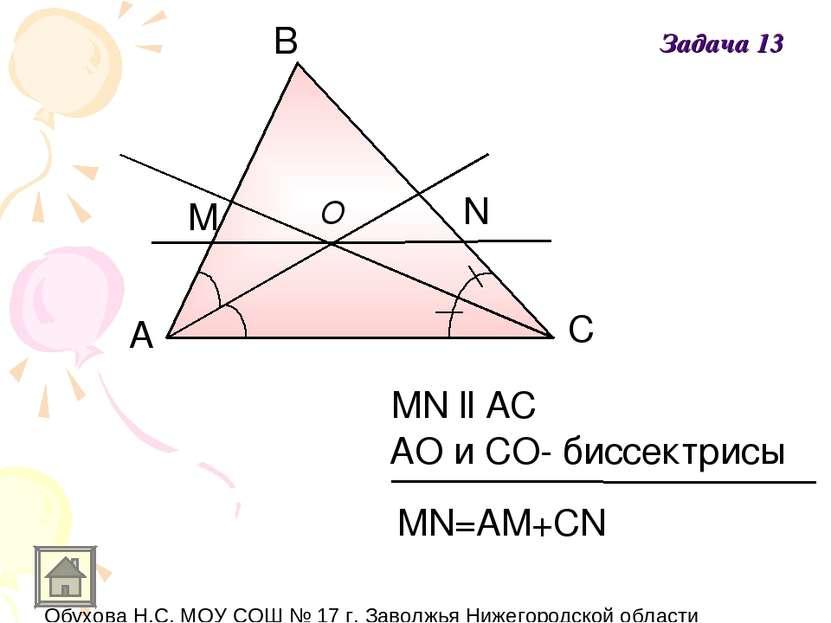 А В С M N O MN ll AC АO и СO- биссектрисы MN=AM+CN Задача 13