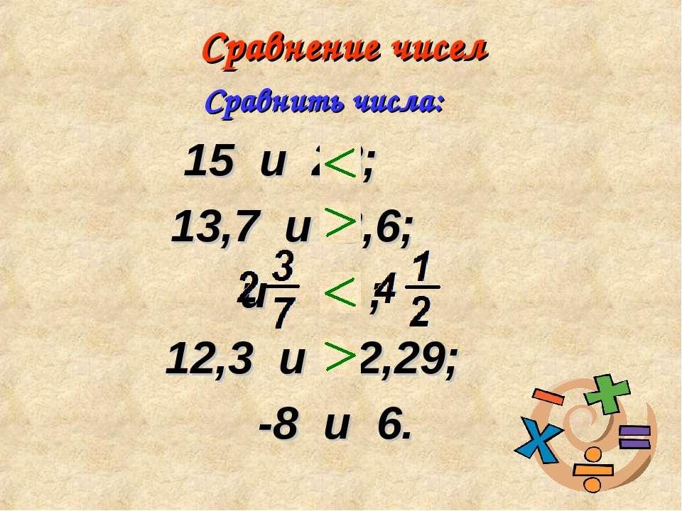 Сравнение чисел 15 и 28; 13,7 и 8,6; и ; 12,3 и 12,29; -8 и 6. Сравнить числа: