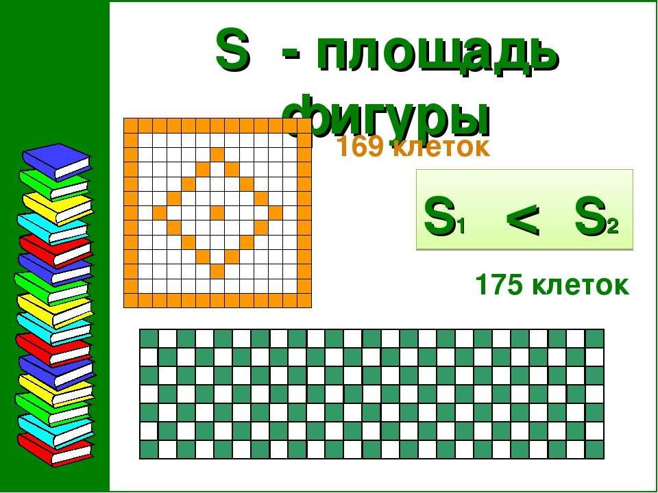 S - площадь фигуры 169 клеток 175 клеток S1 < S2