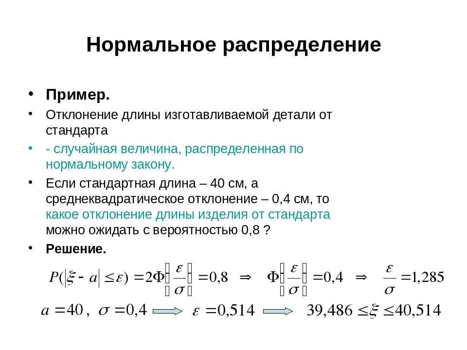 Нормальное распределение Пример. Отклонение длины изготавливаемой детали от с...