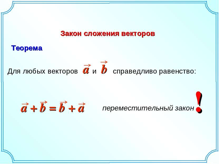 Закон сложения векторов ! Теорема