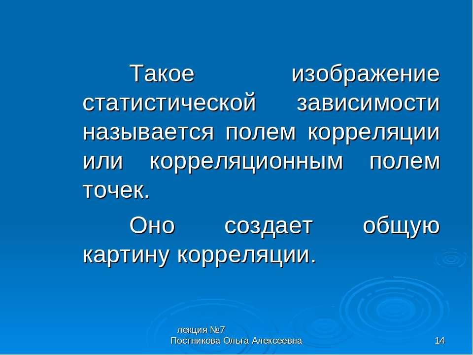 лекция №7 Постникова Ольга Алексеевна * Такое изображение статистической зави...