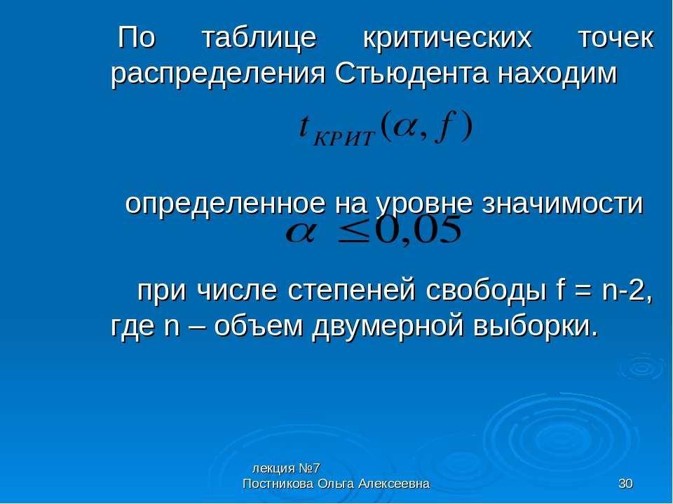 лекция №7 Постникова Ольга Алексеевна * По таблице критических точек распреде...