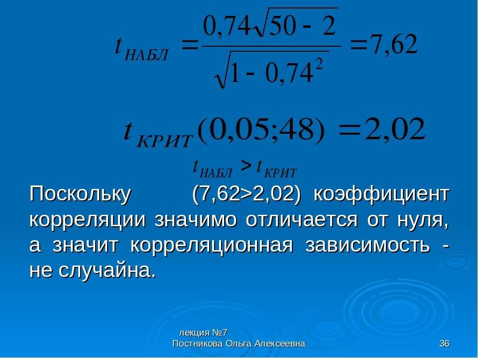 лекция №7 Постникова Ольга Алексеевна * Поскольку (7,62>2,02) коэффициент кор...