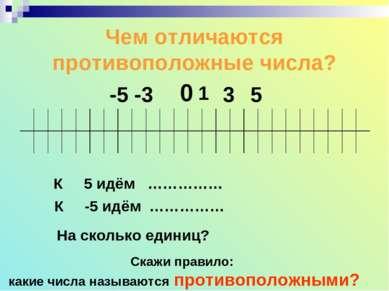 Чем отличаются противоположные числа? 0 1 -3 -5 3 5 К 5 идём …………… К -5 идём ...