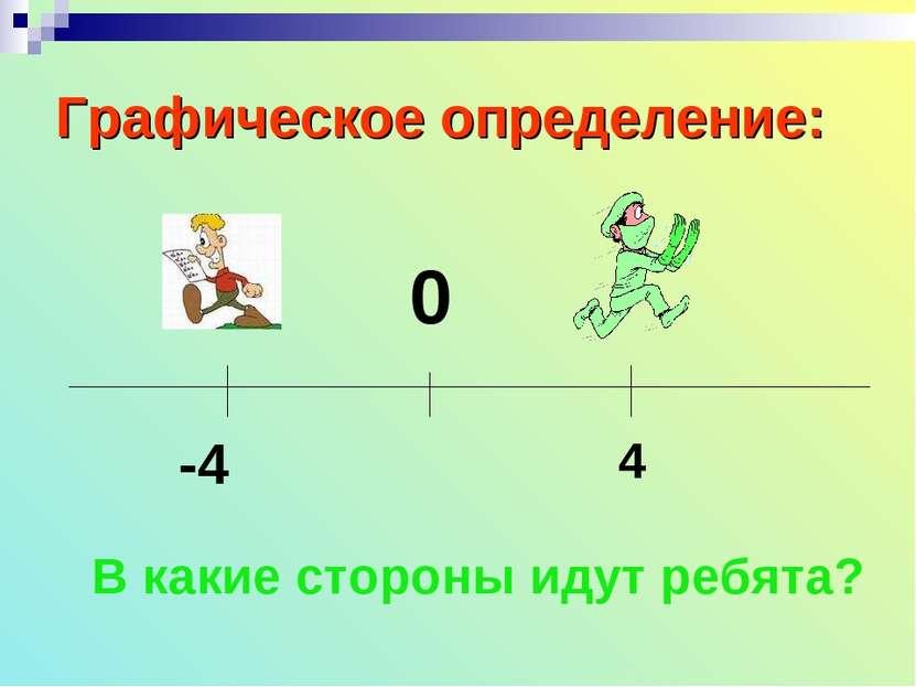 Графическое определение: 0 -4 4 В какие стороны идут ребята?