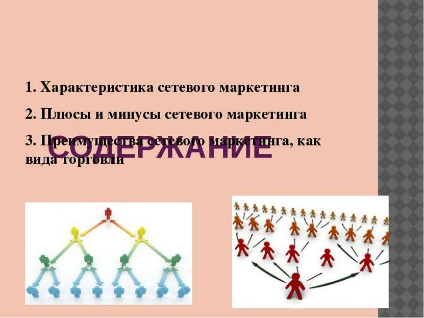 СОДЕРЖАНИЕ 1. Характеристика сетевого маркетинга 2. Плюсы и минусы сетевого м...