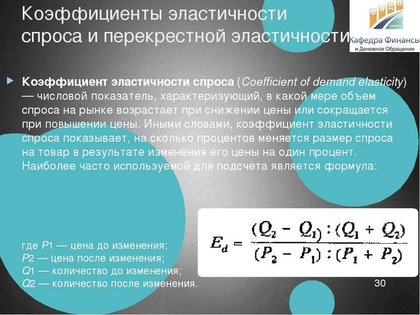 Коэффициенты эластичности спроса и перекрестной эластичности Коэффициент элас...