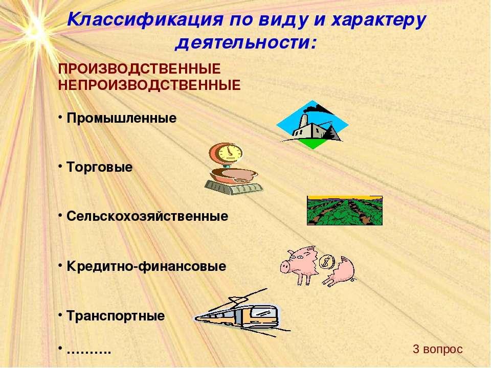 Классификация по виду и характеру деятельности: ПРОИЗВОДСТВЕННЫЕ НЕПРОИЗВОДСТ...