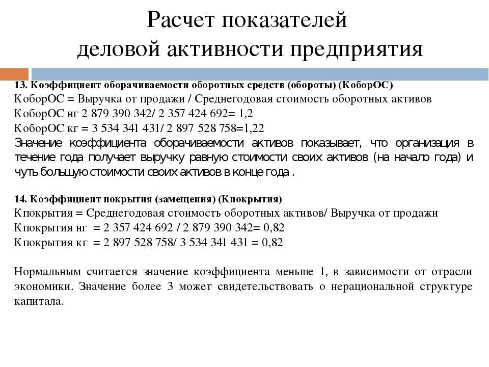 Расчет показателей деловой активности предприятия 13. Коэффициент оборачиваем...