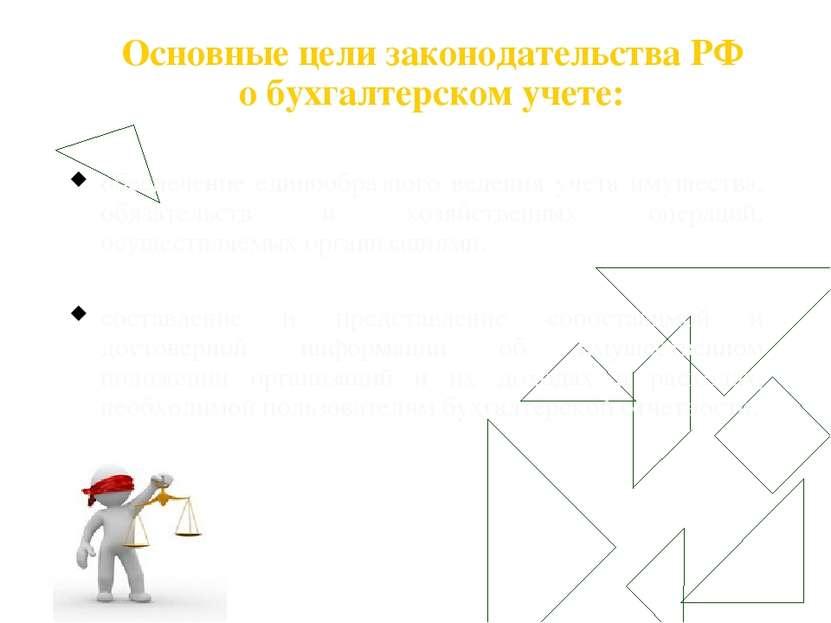 Основные цели законодательства РФ о бухгалтерском учете: обеспечение единообр...