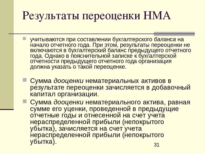 Результаты переоценки НМА учитываются при составлении бухгалтерского баланса ...