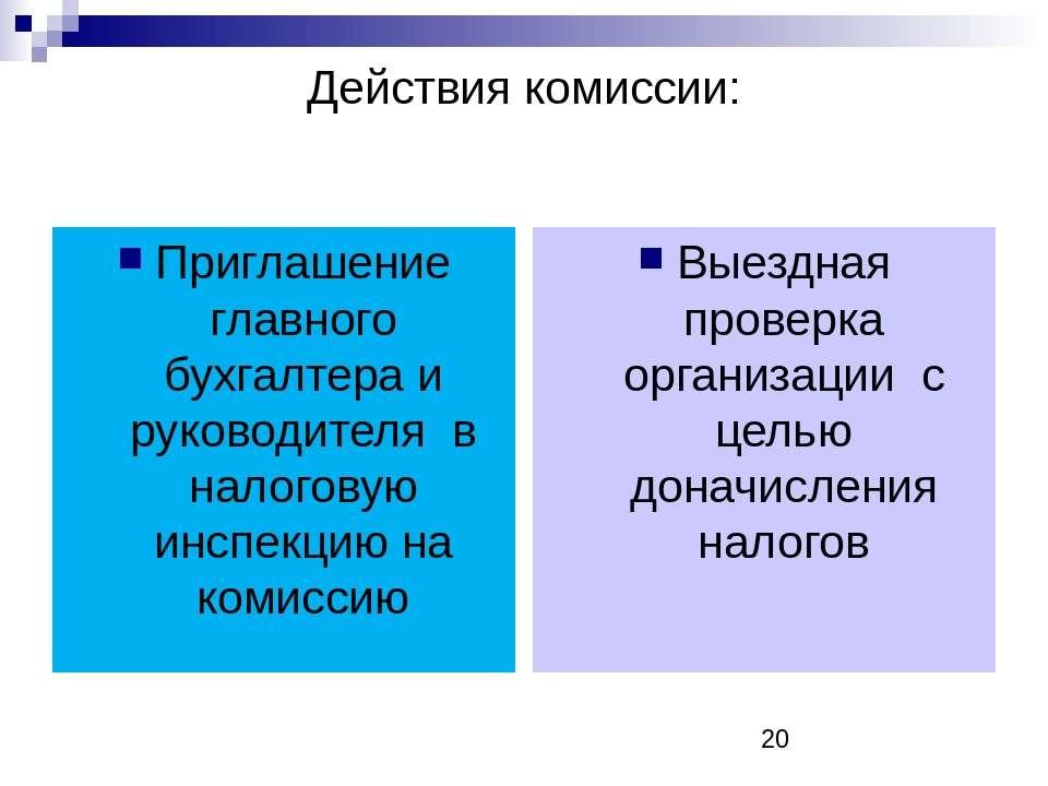 Действия комиссии: Приглашение главного бухгалтера и руководителя в налоговую...