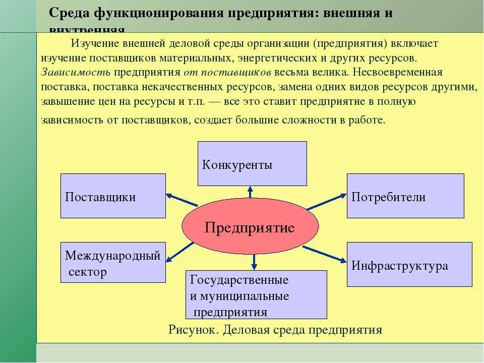 Среда функционирования предприятия: внешняя и внутренняя. Изучение внешней де...