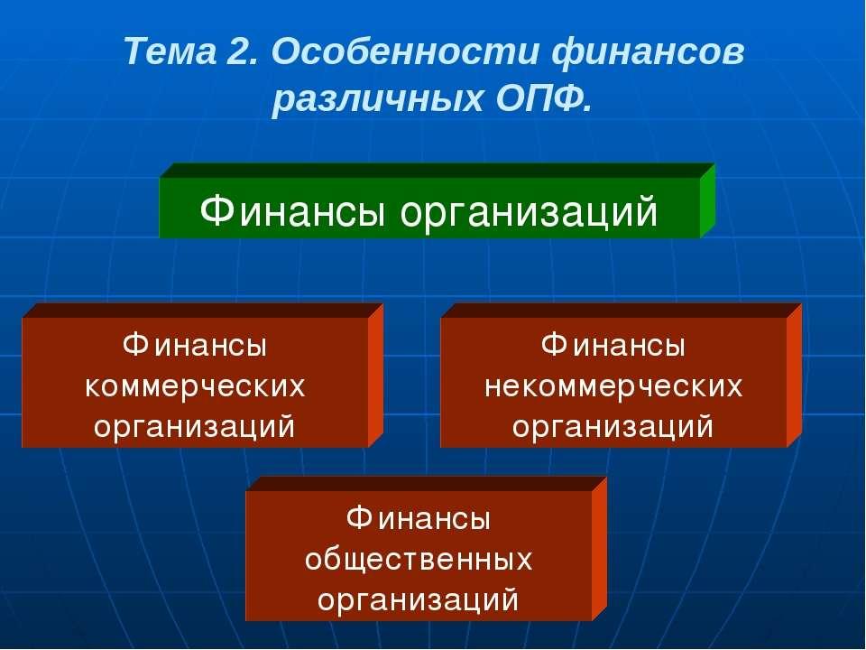 Тема 2. Особенности финансов различных ОПФ. Финансы организаций Финансы комме...