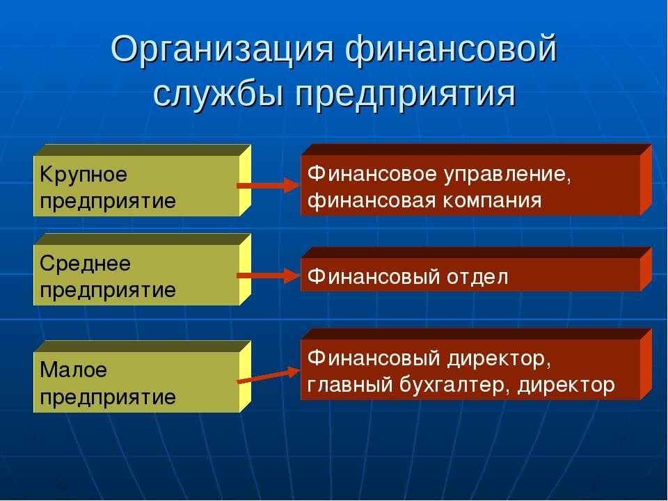 Организация финансовой службы предприятия Крупное предприятие Среднее предпри...