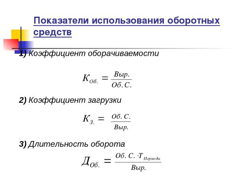 Показатели использования оборотных средств 1) Коэффициент оборачиваемости 2) ...