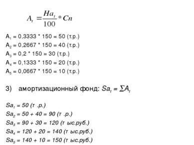 А1 = 0,3333 * 150 = 50 (т.р.) А2 = 0,2667 * 150 = 40 (т.р.) А3 = 0,2 * 150 = ...