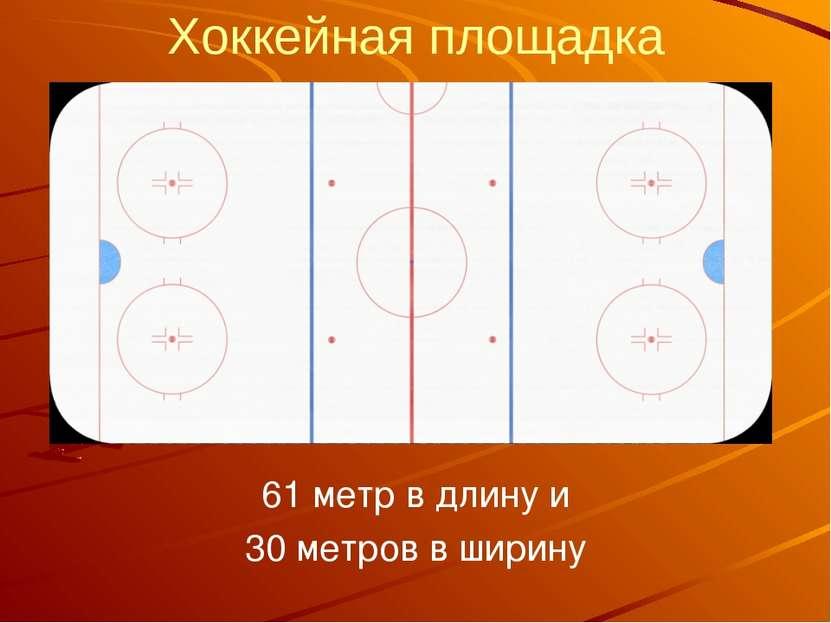 Хоккейная площадка 61 метр в длину и 30 метров в ширину