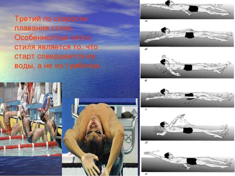 Третий по скорости плавания стиль. Особенностью этого стиля является то, что ...