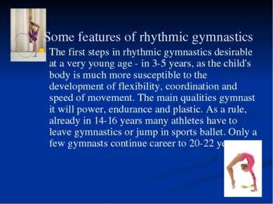 Some features of rhythmic gymnastics The first steps in rhythmic gymnastics d...