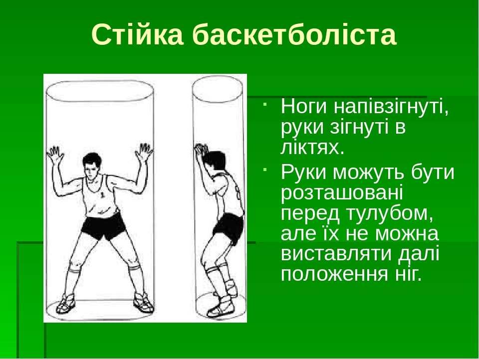 Стійка баскетболіста Ноги напівзігнуті, руки зігнуті в ліктях. Руки можуть бу...