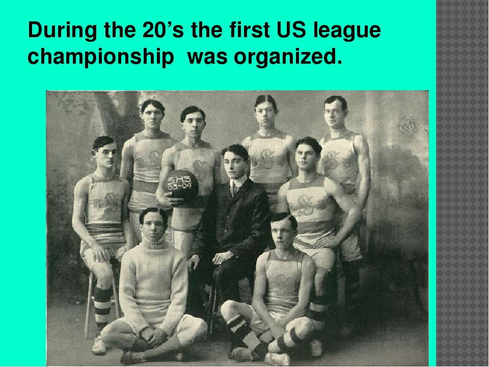 During the 20's the first US league championship was organized.
