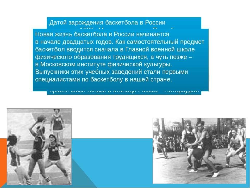 Датой зарождения баскетбола в России считается 1906г. Место рождения - Петерб...