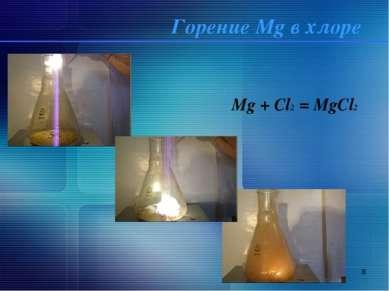 * Горение Mg в хлоре Mg + Cl2 = MgCl2