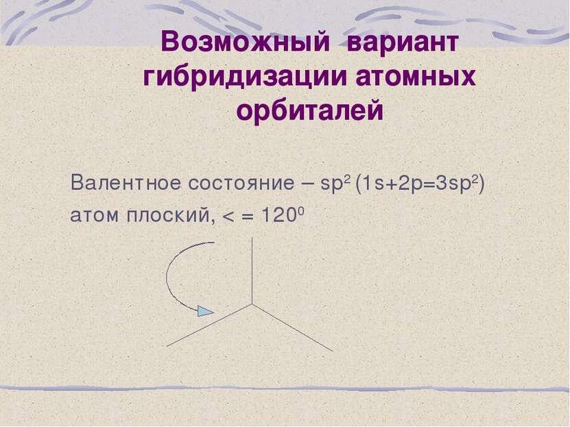 Возможный вариант гибридизации атомных орбиталей Валентное состояние – sp2 (1...