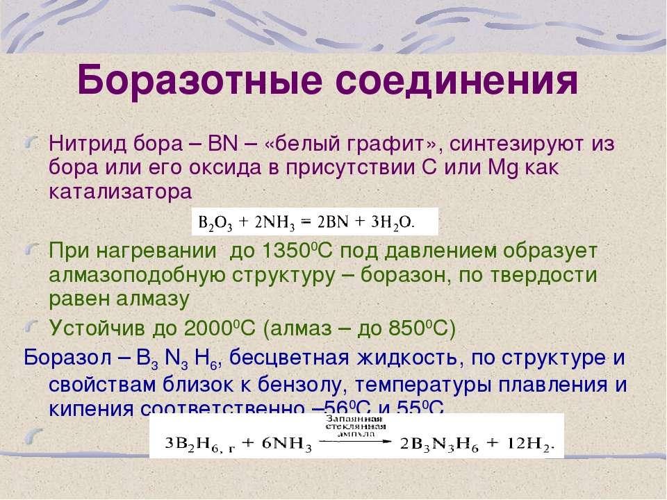 Боразотные соединения Нитрид бора – ВN – «белый графит», синтезируют из бора ...
