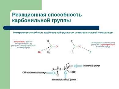 Реакционная способность карбонильной группы Реакционная способность карбониль...