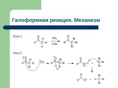 Галоформная реакция. Механизм Этап 1 Этап 2