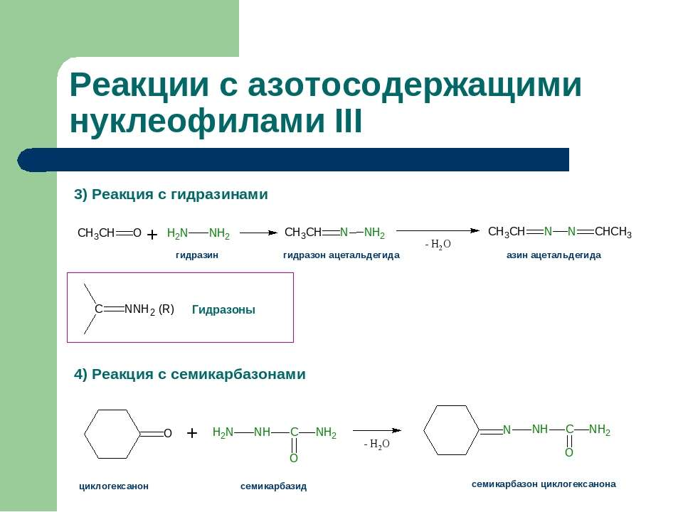 Реакции с азотосодержащими нуклеофилами III 3) Реакция с гидразинами 4) Реакц...