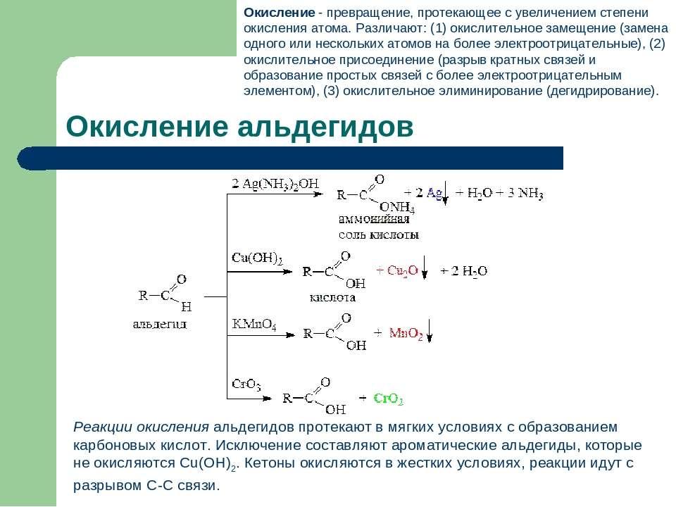 Окисление альдегидов Реакции окисленияальдегидов протекают в мягких условиях...