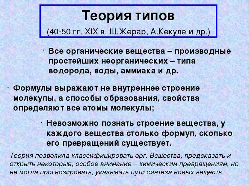 Теория типов (40-50 гг. XIX в. Ш.Жерар, А.Кекуле и др.) Все органические веще...