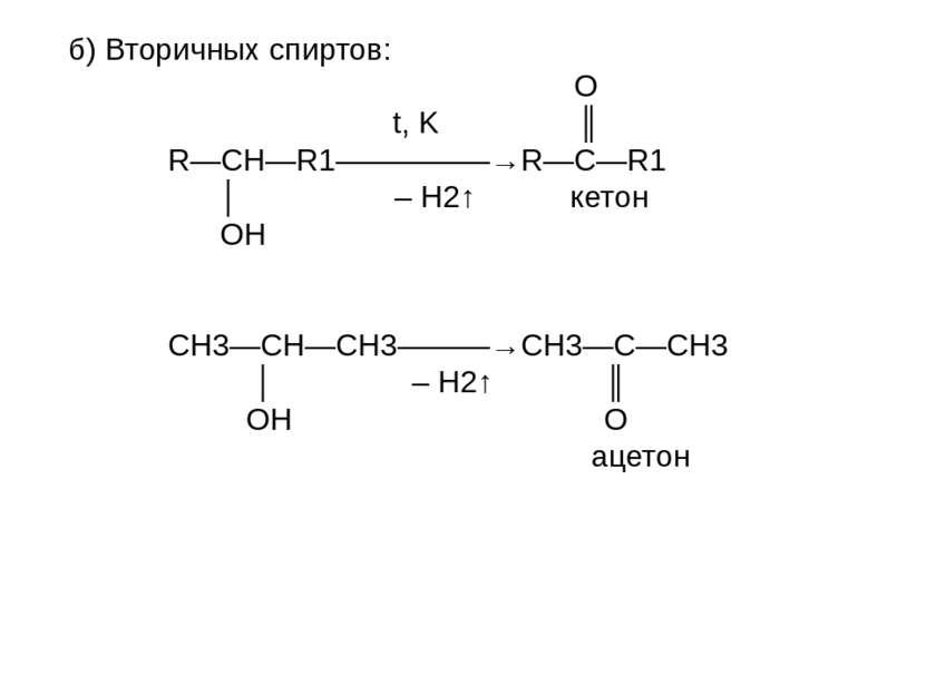 б) Вторичных спиртов: O t, K ║ R—CH—R1—————→R—C—R1 │ – H2↑ кетон OH СН3—СН—СН...