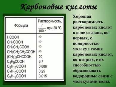 Карбоновые кислоты Хорошая растворимость карбоновых кислот в воде связана, во...