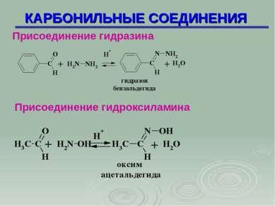 КАРБОНИЛЬНЫЕ СОЕДИНЕНИЯ Присоединение гидразина Присоединение гидроксиламина