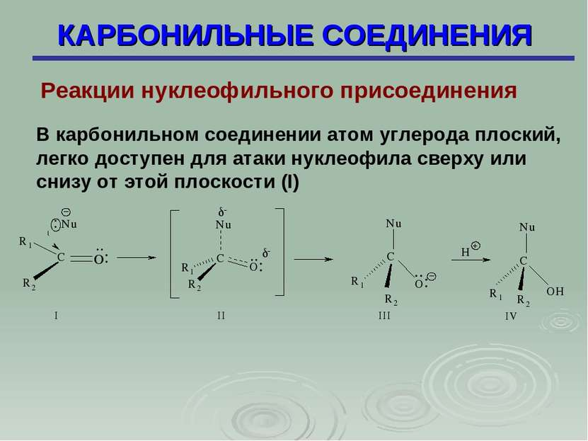 КАРБОНИЛЬНЫЕ СОЕДИНЕНИЯ Реакции нуклеофильного присоединения В карбонильном с...